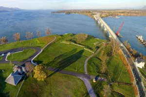 Fort St. Frédéric and the new Crown Point Bridge.  See below for the big view of this panorama.