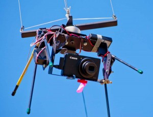 Canon S95 on a Brooxes KAP rig with pan and tilt servos and radio receiver