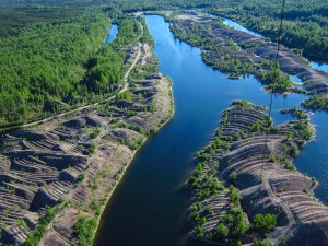 Thousands of acres of river valleys in Alaska were churned into this.