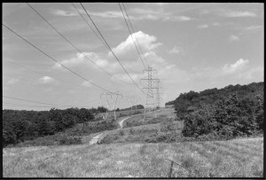 From a negative made in ca. 1974 of the power line swath in Soldiers Delight. The Bodine photo was made at the top of the hill in the distance. Those clouds were actually there.
