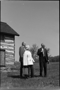 Full frame of a 1975 negative of Bill Fastie, Florence Rogers, and Jimmy Poultney at Soldiers Delight.
