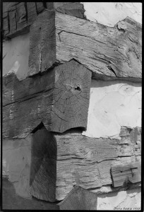 Saddle notch corners of the American chestnut log cabin., Spring 1975.