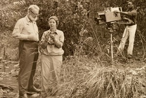 "Elmer and Jean Worthley taping ""On Nature's Trail"" in Soldiers Delight."