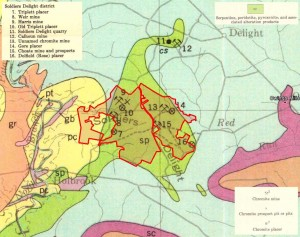 1925 geological map with the boundaries of the Soldiers Delight NEA (red) and the locations of chromite mining operations.