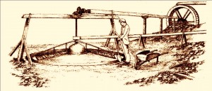 Sketch of a water powered buddle for separating lead ore in Shropshire.